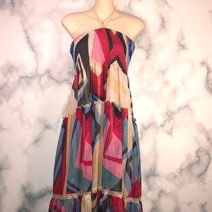 NWOT LAPIS Midi abstract print Tulle dress boho